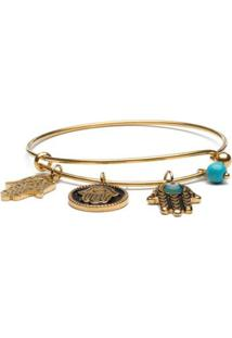 Pulseira Key Design Charms Gold Feminina - Feminino-Dourado