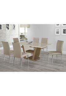 Conjunto Sala De Jantar Mesa Monique Mdf Com Vidro 6 Cadeiras Coleção Siena Móveis Bege