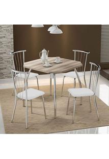 Mesa 1504 Nogueira Cromada Com 4 Cadeiras 154 Branca Carraro
