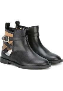 Burberry Kids Ankle Boot De Couro - Preto