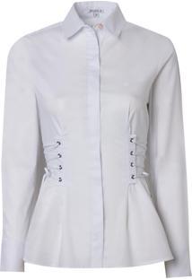 Camisa Dudalina Manga Longa Lisa Laces Cintura Feminina (Branco, 50)