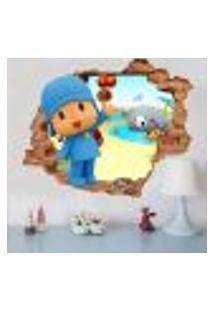 Adesivo De Parede Buraco Falso 3D Infantil Pocoyo - G 82X100Cm