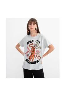 Blusa Estampa Selvagem Com Tigre | Blue Steel | Cinza | M