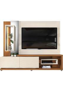 Estante Home Theather Tv Até 65 Pol. Led Gavetas Ondas 3D Onduras Crem