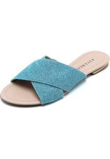 Rasteira Fiveblu Lurex Azul