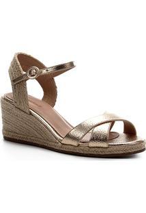 Sandália Shoestock Couro Corda Anabela - Feminino-Ouro