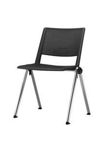Cadeira Up Assento Preto Base Fixa Cromada - 54288 Preto