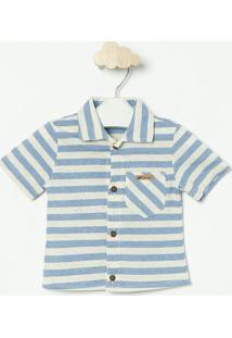 Camisa Em Botonãª- Azul & Off White- Oliveroliver