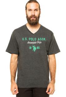 Camiseta Manga Curta U.S. Polo Bordado Cinza