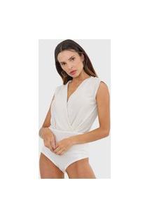 Body Lança Perfume Transpassado Off-White/Prata