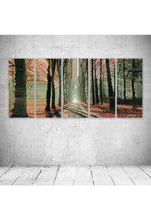 Quadro Decorativo - Artistic Glitch Trees Road - Composto De 5 Quadros - Multicolorido - Dafiti