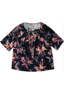 Blusa Preto Floral Com Amarração
