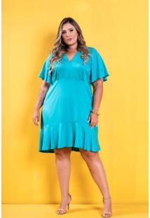 Vestido Lily Babado Azul Plus Size Domenica Solazzo