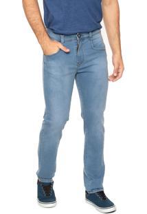 Calça Jens Hang Loose Slim Estonada Azul