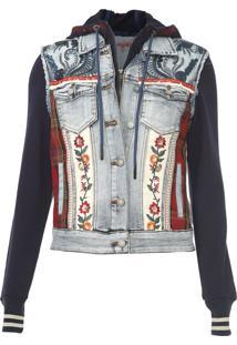 Jaqueta Jeans Desigual Floral Azul - Azul - Feminino - Algodã£O - Dafiti