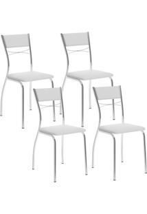 Cadeira 1701 Cromada 04 Unidades Branca Carraro