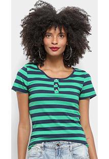 Camiseta Top Modas Listrada Botões Feminina - Feminino-Verde