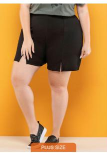 Shorts Plus Size Com Abertura Frente Preto