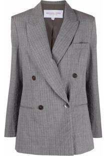 Michael Michael Kors Double-Breasted Pinstripe Blazer - Cinza