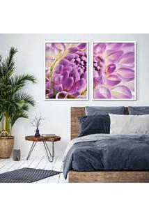 Quadro 65X90Cm Flor Lotus Lilas E Branca Moldura Branca Com Vidro