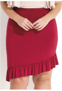 Saia Assimétrica Com Babado Bordô Quintess Plus Size - Feminino-Bordô