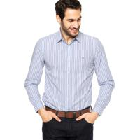 1ce49250b01da Camisa Manga Longa Lacoste Slim Fit Listrada Azul Branca