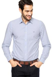 Camisa Manga Longa Lacoste Slim Fit Listrada Azul/Branca