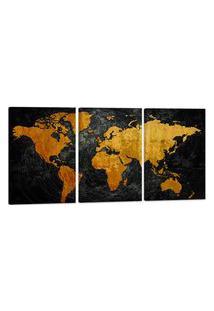 Quadro Mapa Mundi Efeito Riscos 60X120Cm Decoraçáo Escritórios Salas Empresas - Oppen House