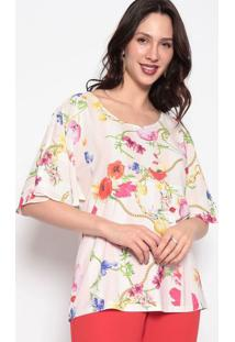 Blusa Floral Com Recortes- Rosa & Branca- Nectarinanectarina