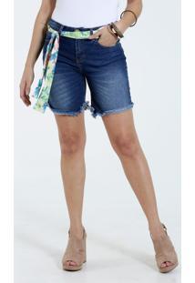 Bermuda Feminina Jeans Cinto Estampado Marisa