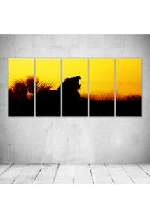 Quadro Decorativo - Lion Wild Yellow Orange Nature Sunset - Composto De 5 Quadros