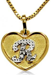 Pingente Em Ouro 18K Coração Com Letra R Com 5 Diamantes - Pg20110