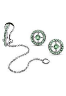 Conjunto Piercing Com Corrente E Brinco Redondo Life Glam Verde