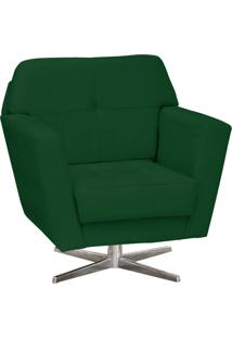Poltrona Decorativa D'Rossi Esmeralda Suede Verde Com Base Giratória Em Aço Cromado