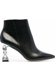 Sophia Webster Ankle Boot Bijou Com Aplicação De Joias No Salto - Preto