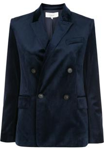 Vince Velvet Double-Breasted Blazer - Azul