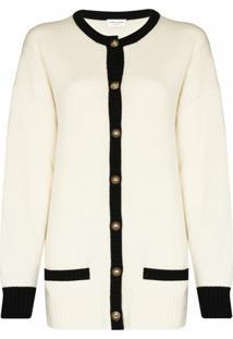 Saint Laurent Cardigan De Cashmere Com Botões - Branco