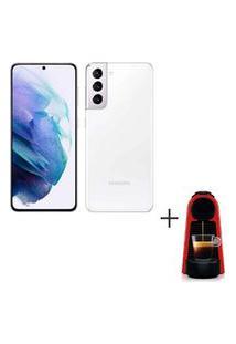 Samsung Galaxy S21 Branco, 6,2, 5G, 128Gb - Sm-G991Bzwjzto + Cafeteira Nespresso Essenza Mini Vermelho 220V - C30-Br