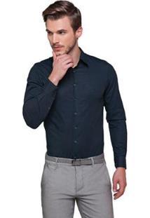 Camisa Fit Zaiko Tingimento Poá Manga Longa Masculina - Masculino-Preto