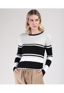 Suéter Feminino Listrado Em Tricô Decote Redondo Off White