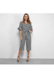 Macacão Lily Fashion Listrado Feminino - Feminino-Preto