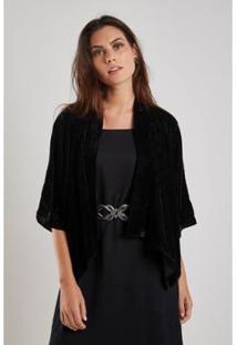 Kimono Sacada Fio Shine - Feminino-Preto