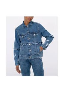 Jaqueta Jeans Liso Alongada   Blue Steel   Azul   G