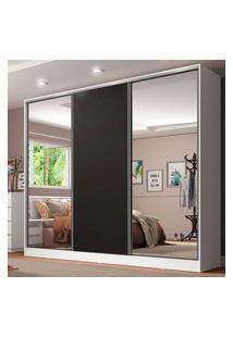 Guarda Roupa Casal 100% Mdf Madesa Royale 3 Portas De Correr Com Espelhos Branco/Preto Branco