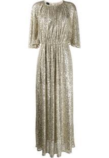 Pinko Vestido Com Bordado De Paetês - Dourado