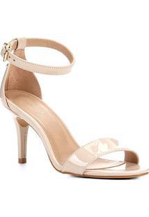 Sandalia Shoestock Salto Alto Naked Feminina - Feminino-Macadamia
