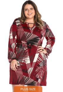 3b295b1396 Plus Size Estampado Vermelho feminino. Vestido Feminino Rovitex Plus  Vermelho