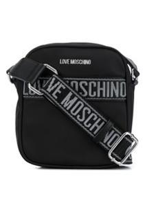 Love Moschino Bolsa Carteiro Jacquard Com Logo - Preto
