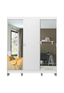 Guarda-Roupa Casal Madesa Veneza 3 Portas De Correr 2 Portas Com Espelho Com Pés Branco Branco