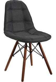 Cadeira Quadra Linho Base Madeira Ordesign